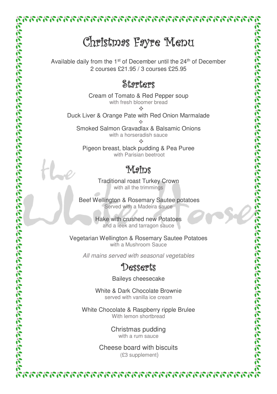 Christmas menu 2018 White Horse Thornton-1